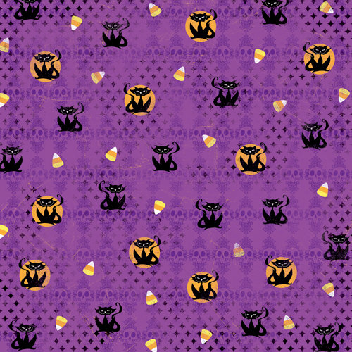 Karen Foster Design - Halloween Collection - 12 x 12 Paper - Scary Cats