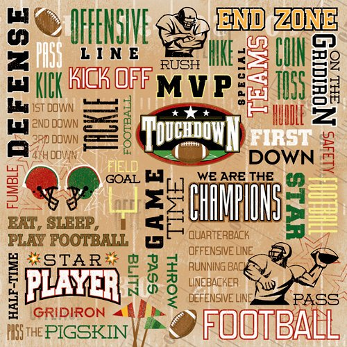 Karen Foster Design - Football Collection - 12 x 12 Paper - Touchdown Collage