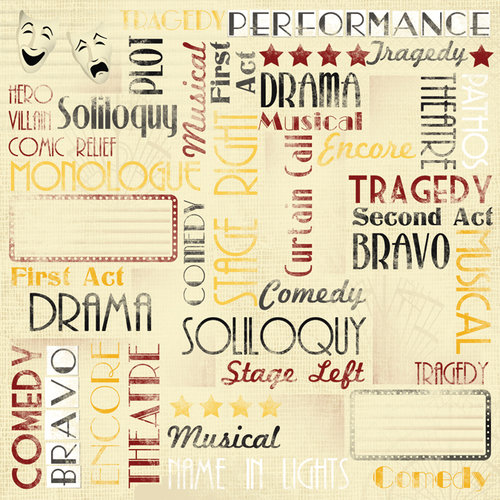 Karen Foster Design - Drama Collection - 12 x 12 Paper - Performance Collage
