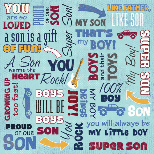 Karen Foster Design - Daughter and Son Collection - 12 x 12 Paper - Super Son Collage