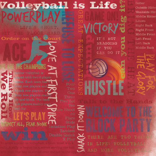 Karen Foster Design - Volleyball Collection - 12 x 12 Paper - Volleyball Is Life Collage