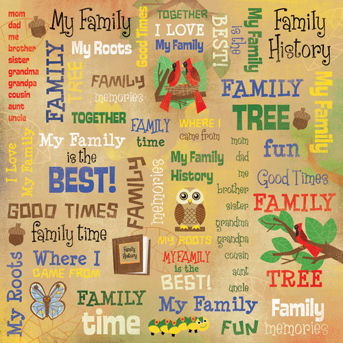 Karen Foster Design - Kid's Ancestry Collection - 12 x 12 Paper - My Family Collage