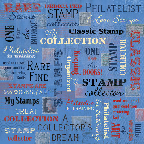 Karen Foster Design - Coin Collecting Stamp Collecting Collection - 12 x 12 Paper - Stamp Collecting Collage