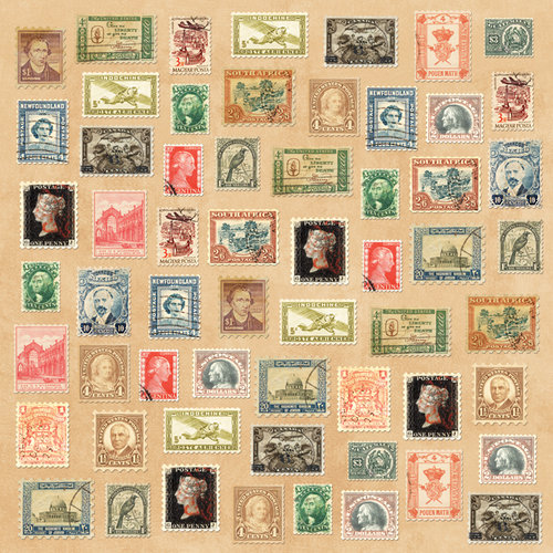 Karen Foster Design - Coin Collecting Stamp Collecting Collection - 12 x 12 Paper - Stamps