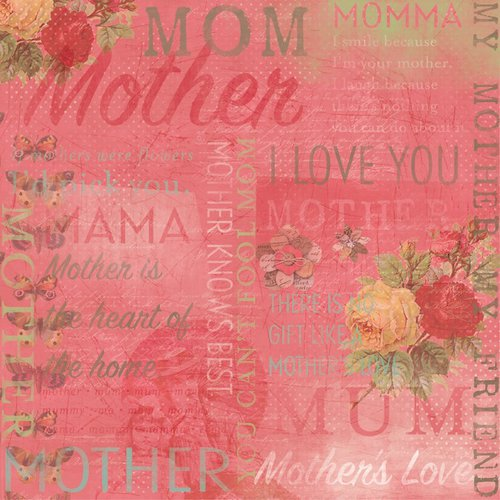 Karen Foster Design - Mom Collection - 12 x 12 Paper - Number 1 Mom Collage