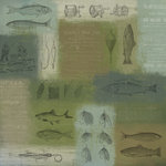 Karen Foster Design - Fishing Collection - 12 x 12 Paper - Fish and Tackle