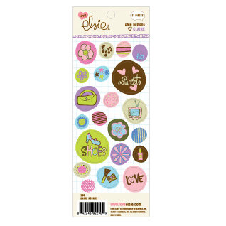 KI Memories - Love Elsie - Claire Collection - Chipboard Buttons - Claire Rounds, CLEARANCE