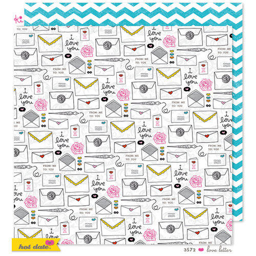 KI Memories - Hot Date Collection - 12 x 12 Double Sided Paper - Love Letter