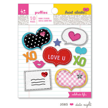 KI Memories - Hot Date Collection - Puffies - 3 Dimensional Fabric Stickers - Date Night