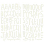 KI Memories - Hip Chip - Alphabet Chipboard Stickers - White Graph