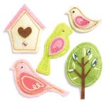 KI Memories - Puffies Collection - 3 Dimensional Fabric Stickers with Gem Accents - Birds