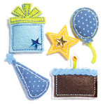 KI Memories - Puffies Collection - 3 Dimensional Fabric Stickers with Gem Accents - Birthday Boy