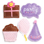 KI Memories - Puffies Collection - 3 Dimensional Fabric Stickers with Button and Gem Accents - Birthday Girl