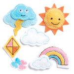 KI Memories - Puffies Collection - 3 Dimensional Fabric Stickers - Happy Day