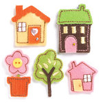 KI Memories - Puffies Collection - 3 Dimensional Fabric Stickers with Button and Gem Accents - Home Sweet Home