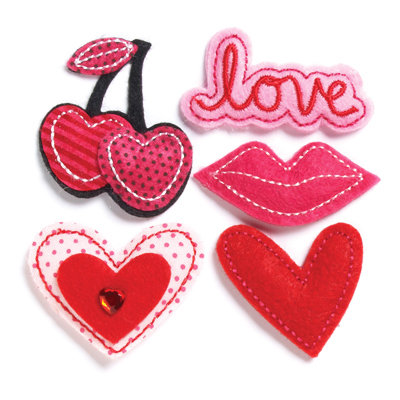 KI Memories - Puffies Collection - 3 Dimensional Fabric Stickers with Gem Accents - Love You