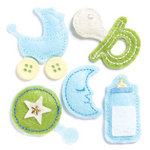 KI Memories - Puffies Collection - 3 Dimensional Fabric Stickers with Button and Gem Accents - Baby Boy