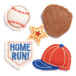 KI Memories - Puffies Collection - 3 Dimensional Fabric Stickers with Gem Accents - Baseball