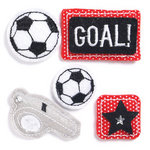 KI Memories - Puffies Collection - 3 Dimensional Fabric Stickers with Gem Accents - Soccer