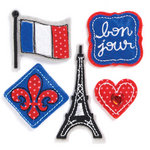 KI Memories - Puffies Collection - 3 Dimensional Fabric Stickers with Gem Accents - Paris
