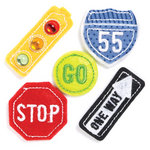 KI Memories - Puffies Collection - 3 Dimensional Fabric Stickers with Gem Accents - Traffic