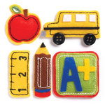 KI Memories - Puffies Collection - 3 Dimensional Fabric Stickers with Button and Gem Accents - School