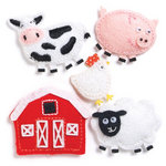 KI Memories - Puffies Collection - 3 Dimensional Fabric Stickers - Farm