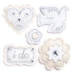 KI Memories - Puffies Collection - 3 Dimensional Fabric Stickers with Gem Accents - Wedding