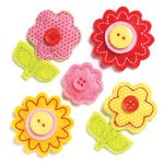 KI Memories - Puffies Collection - 3 Dimensional Fabric Stickers with Button Accents - Flowers - Bright