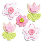 KI Memories - Puffies Collection - 3 Dimensional Fabric Stickers with Button Accents - Flowers - Pastel