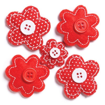 KI Memories - Puffies Collection - 3 Dimensional Fabric Stickers with Button Accents - Blooms - Red
