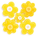 KI Memories - Puffies Collection - 3 Dimensional Fabric Stickers with Button Accents - Blooms - Yellow