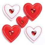 KI Memories - Puffies Collection - 3 Dimensional Fabric Stickers with Gem Accents - Hearts - Red