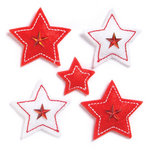 KI Memories - Puffies Collection - 3 Dimensional Fabric Stickers with Gem Accents - Stars - Red