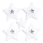 KI Memories - Puffies Collection - 3 Dimensional Fabric Stickers with Gem Accents - Stars - White