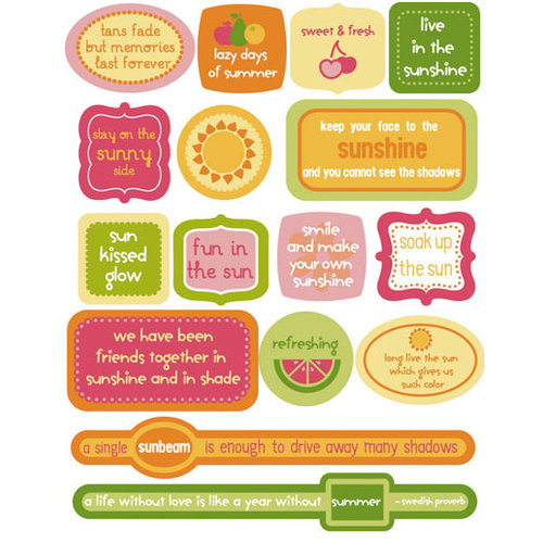 KI Memories - Juicy Summer Collection - 3 Dimensional Stickers - Pop Art Accents - Quotes, CLEARANCE