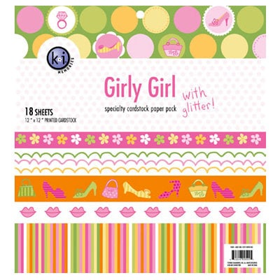 KI Memories - 12 x 12 Specialty Cardstock Paper Pack with Glitter - Girly Girl, CLEARANCE