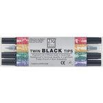 Kuretake - ZIG - Memory System - Assorted Dual Tip Marker - 4 Piece Set - Black