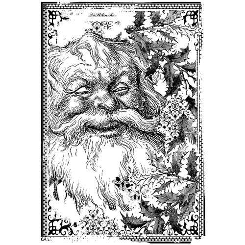 LaBlanche - Christmas Collection - Foam Mounted Silicone Stamp - Santa with Holly in Frame
