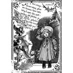 LaBlanche - Children Collection - Foam Mounted Silicone Stamp - Child with Mistletoe in Frame