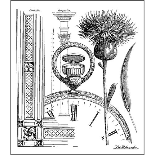 LaBlanche - Foam Mounted Silicone Stamp - Thistle Collage