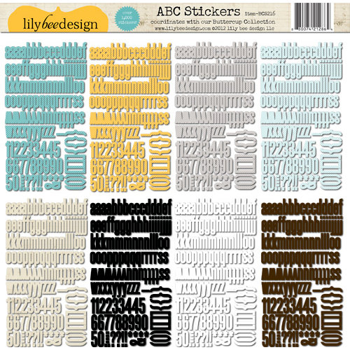 Lily Bee Design - Buttercup Collection - 12 x 12 Cardstock Stickers - Alphabet