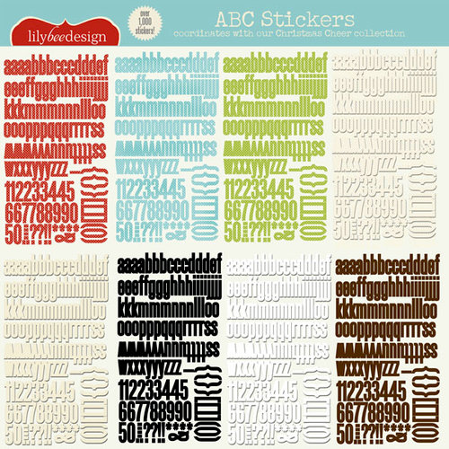 Lily Bee Design - Christmas Cheer Collection - 12 x 12 Cardstock Stickers - Alphabet