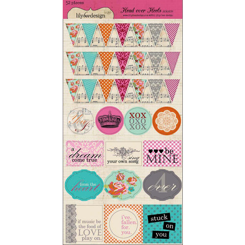 Lily Bee Design - Head Over Heels Collection - Cardstock Stickers