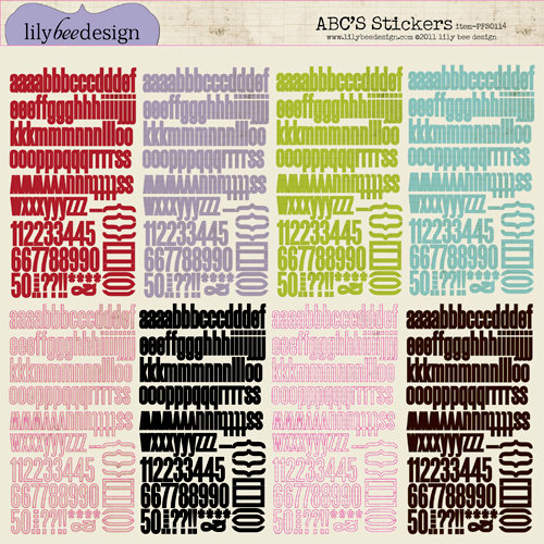 Lily Bee Design - Picket Fence Collection - 12 x 12 Cardstock Stickers - Alphabet