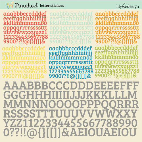 Lily Bee Design - Pinwheel Collection - 12 x 12 Cardstock Stickers - Alphabet