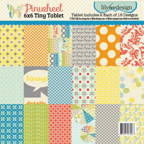Lily Bee Designs - Pinwheel Collection - Tiny Tablet - 6 x 6 Paper Pad