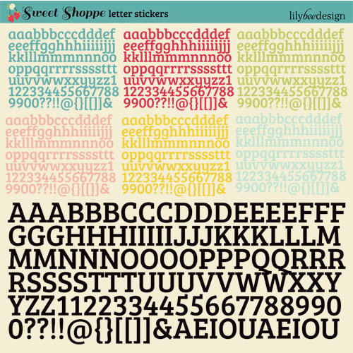 Lily Bee Design - Sweet Shoppe Collection - 12 x 12 Cardstock Stickers - Alphabet