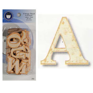 Lil Davis Designs - Vintage Wood Alphabet - Upper Case - Butter, CLEARANCE