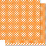 Lawn Fawn - Lets Polka in the Dark Collection - 12 x 12 Double Sided Paper - Jack-o'-lantern Polka